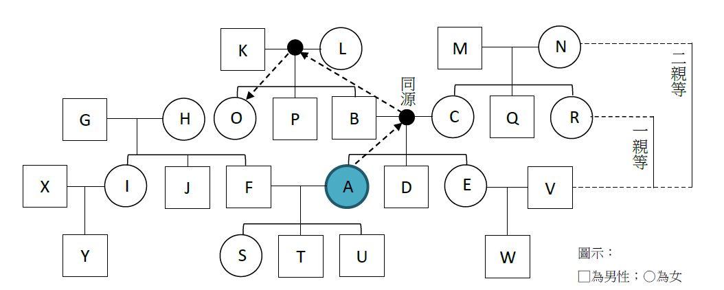 圖1 A的親屬關係圖||資料來源:作者自製