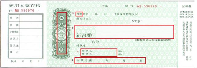 圖2:本票樣張||資料來源:作者提供。