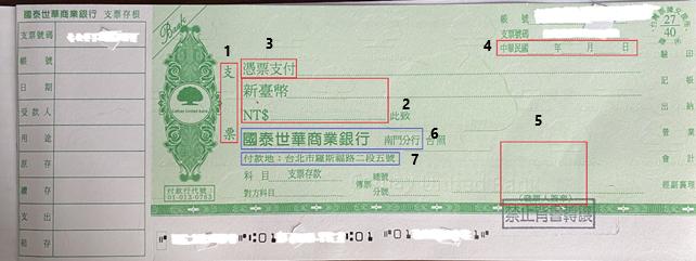 圖3:支票樣張||資料來源:作者提供。