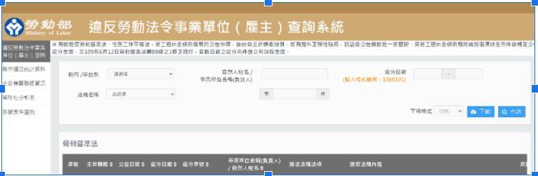 圖1 查詢頁面畫面||資料來源:違反勞動法令事業單位(雇主)查詢系統